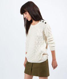 Pull tricot torsadé boutonné épaule - TWIST - BEIGE - Etam