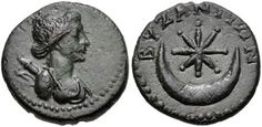 Parthian coins 58-38 B.C. Star and crescent. Sin (moon god, father of time) and Shamash (supreme ruling sun god). Babylonian mythology.