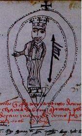 Selo de D. Sancho I - cópia desenhada do sé. XIV . Torre do Tombo - Lisboa - Livro de Doações de D. Afonso III fol. 13 Vº