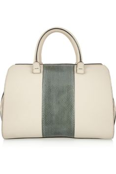 Victoria Beckham | The Soft Victoria leather and watersnake tote | NET-A-PORTER.COM
