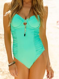 Mint One Piece Swimsuit by Swim Systems 2014 from #SwimwearBoutique...so adorable!