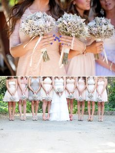 Neutral Bridesmaids with sage and lavender bouquets. Love the dress colors w lavender flowers, hate her nails.