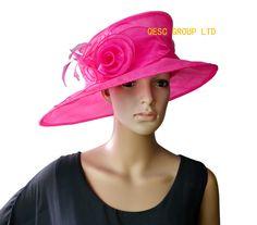 2d48bb23fb7 Hot pink fuchsia Wide brim organza hat Kentucky derby hat Tea hat Wedding  Hat.