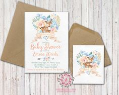 Boho Woodland Deer Baby Bridal Shower Birthday Party Invitation Invite Thank You Cards Set Floral Printable