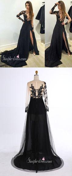 prom dress 2016, sheer prom dress, black long sleeves prom dress with side slit, evening dress