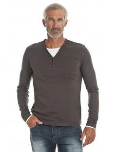 T-shirt à manches longues et double col V en coton marron