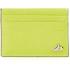 DIANE VON FURSTENBERG Caviar Leather Tuxedo Card Case ($48) ❤ liked on Polyvore featuring bags, wallets, shocking yellow, yellow wallet, leather card holder wallet, diane von furstenberg bag, leather wallet and real leather wallet