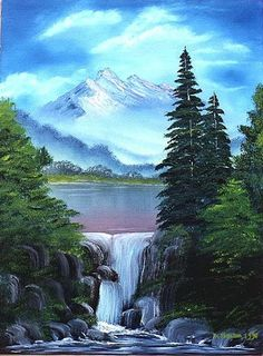 Art: Waterfall Pines by Artist Deanne Flouton