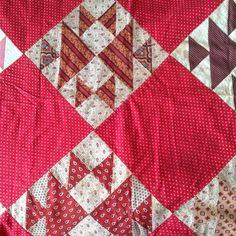 "Antique Fox Geese Quilt Top 72"" x 72"" Hand Pieced Very Nice Madder Browns Reds 