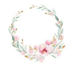Flower Phone Wallpaper, Pink Wallpaper Iphone, Watercolor Flower Wreath, Floral Watercolor, Flower Frame, Flower Art, Flower Wreath Illustration, Logo Fleur, Baby Animal Drawings