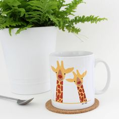 Giraffe Couple 'Selfie' Personalised Mug by Heather Alstead Design, the perfect gift for Explore more unique gifts in our curated marketplace. Giraffe Decor, Cute Giraffe, Bear Silhouette, Wedding Day Gifts, Couple Mugs, Unique Gifts, Valentines, Selfie, Ceramics