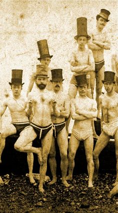 1863 Brighton Swimming Club, England. Manly Men. Love the hats.