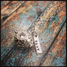 Hand Stamped Harmony Ball Necklace - Pregnancy Ball - Heart Shape -Pregnancy Gift Idea - Harmony Cage - Necklace Pregnancy Maternity Mexican