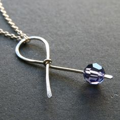 Your place to buy and sell all things handmade - Purple Ribbon Sterling Silver Necklace . Handmade Awareness Ribbon for Alzheimer's, Epilepsy, Lup - Ribbon Jewelry, Ribbon Necklace, Beaded Jewelry, Jewelry Necklaces, Layering Necklaces, Wire Necklace, Fall Jewelry, Jewellery, Locket Necklace
