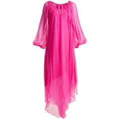 Anna October Gathered balloon-sleeved silk-georgette dress ($913) ❤ liked on Polyvore featuring dresses, flounce dress, pink ruffle dress, frill dress, handkerchief hem dresses and ruching dress