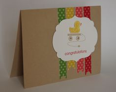 Embellished Events baby card - cute little duck!