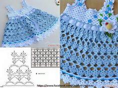 Varios patrones gráficos para hacer vestidos en crochet o ganchillo para las bebés niñas.