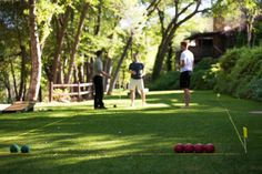 Forget all of your worries and join our creekside lawn games! We have bocce, bag toss and croquet waiting for you this summer! #laubergestory #laubergelawngames #lauberge #sedonaaz #summeractivity #summer