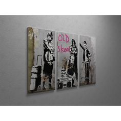 'Banksy 'Old Skool' Triptych Gallery Wrapped Canvas Wall Art