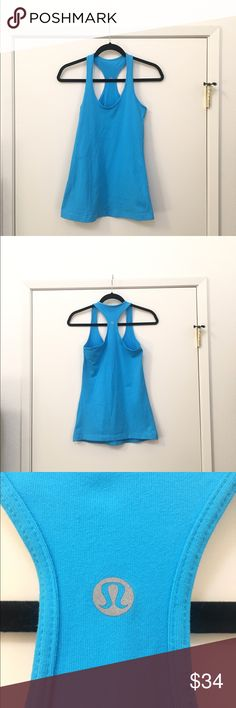 Lululemon Tank Top Cool Racerback Tank. A Lululemon classic and must have! Bought this summer only wore it once, just trying to downsize the closet! Beautiful, bright blue! lululemon athletica Tops Tank Tops