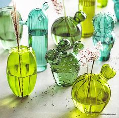 Love these cactus vases. they are so quirky and fun Roost Quirky Cactus Hand-Blown Glass Vases - Set Of 5 – Modish Store