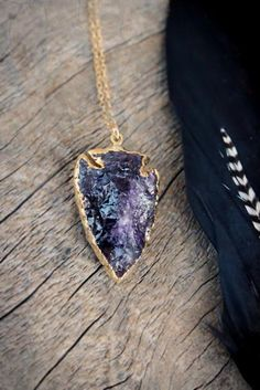 Beautiful AMETHYST Crystal Quartz Arrowhead Edged in 24k gold , Gold Necklace, Spiritual, Healing Stone, Unisex, Nature Inspired on Etsy, $60.00