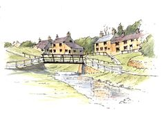 Hutton-le-Hole in the North York Moors National Park ~ sketch ~ John Edwards Pen And Watercolor, Watercolor Landscape, Pen And Wash, John Edwards, Artist Journal, North York, Yorkshire Dales, Urban Sketchers, National Parks