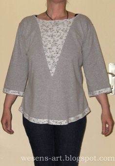 Gray t-shirt refashion Clothes Refashion, Shirt Refashion, Diy Shirt, Sweater Shirt, Refashioned Clothes, Umgestaltete Shirts, Raglan Shirts, Band Shirts, Sewing Clothes