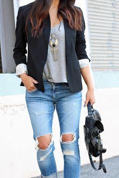 Blazer with denim outfit