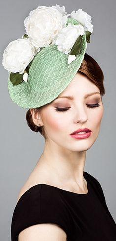 Rachel Trevor Morgan, S/S 2014. Mesh straw disc with hand made flowers. #millinery #judithm #hats