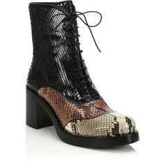 Miu Miu Colorblock Snakeskin Lace-Up Boots ($1,900) ❤ liked on Polyvore featuring shoes, boots, apparel & accessories, stacked heel boots, laced up boots, side zip boots, front lace up boots and color block boots