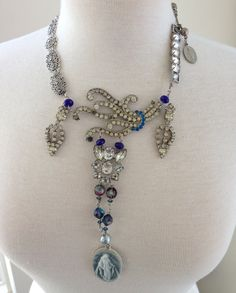 BLUE MADONNA - Sapphire Marcasite Vintage Assemblage Necklace, Blue Rhinestones Handmade by Vintage Assemblage $145 by TheFrenchRoseJewelry