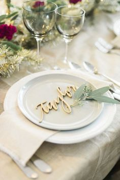 perfect alternative to escort cards! Laser cut guest names for placecards.