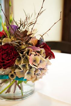 Heirloom hydrangea make a stunning statement in this centerpiece by Blossom Sweet.