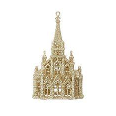 """RAZ Imorts - 6"""" Gold Glittered Church Christmas Tree Ornament"""