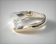 Would like marquise cut instead of pear cut diamond - 14k Two Tone White and Yellow Gold Pear Shaped Swirl Tension Setting   8804W14 - Mobile