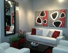 Red grey black and white very chic