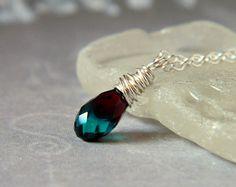 Blue Zicron Swarovski Crystal Necklace Indigo Minimal Necklace Sterling Silver Wire Wrapped Blue Teardrop Pendant Briolette Navy Wedding