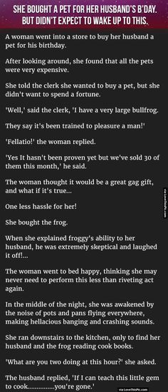 She Bought A Pet For Her Husband On His Birthdayday But Didn't Expect To Wake Up To This funny jokes story lol funny quote funny quotes funny sayings joke hilarious humor stories marriage humor funny jokes adult jokes best jokes ever best jokes