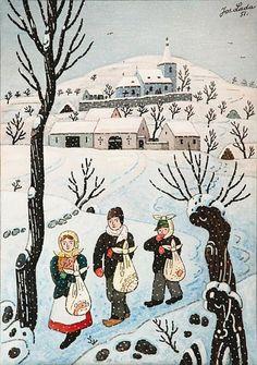 Winter Wonderlands by Josef Lada Hunters In The Snow, Fork Art, Pieter Bruegel The Elder, Online Painting, Children's Book Illustration, Whimsical Art, Naive, Winter Wonderland, Illustrators
