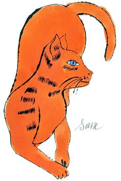 Andy WARHOL (1928 - 1987) (Tiré de) 25 Cats Name Sam and One Blue Pussy (1954, lithographie offset et aquarelle sur papier)