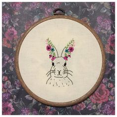 Woodland rabbit embroidery hoop with flowers by BuckleberryFerry