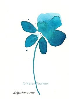 Watercolor Flower, Art, Print, Giclee Print: Teal Turquoise Explosion via Etsy