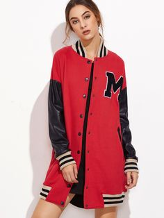 ¡Cómpralo ya!. Contrast Coated Sleeve Longline Baseball Jacket. Red Cotton Casual Cute Stand Collar Short Single Breasted Fall Winter Striped Color Block Fabric has some stretch Jackets. , chaquetabomber, bómber, bombers, bomberjacke, chamarrabomber, vestebomber, giubbottobombber, bomber. Chaqueta bomber de mujer color rojo de SheIn.