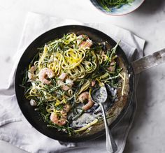 Linguine with samphire and prawns: The best recipe for samphire. This easy dish is made with linguine and pairs the sea vegetable samphire with king prawns in a super-quick pasta sauce.