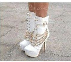 Fashionable Coppy Leather Thic Platform Lace-Up Ankle Boots with Chain Decoration