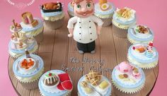 Little Chef Cupcakes by The Clever Little Cupcake Company Fondant Cupcakes, Baking Cupcakes, Fun Cupcakes, Cupcake Cakes, Cupcake Ideas, Cake And Bake Show, No Bake Cake, National Cupcake Day, Chef Cake