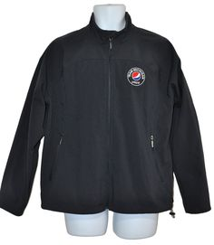 Pepsi Cola Employee Jacket Uniform Team Michigan Navy Blue Full Zip Mens Sz L #NorthEnd #BasicJacket