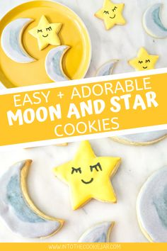 These gorgeous moon and star cookies are really easy to make and are beautiful cookies for baby showers, kid's birthday parties, and much more. They're made using a sugar cookie cut-out base and royal icing, and these decorated moon and star cookies are about to rock your world. Star Sugar Cookies, Baby Cookies, Baby Shower Cookies, Cookie Recipes For Kids, Best Cookie Recipes, Dessert Recipes, Royal Icing Cookies Recipe, Star Cookie Cutter, How To Make Cookies