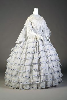 Summer sheer cotton dress, ca. 1848-52   In the Swan's Shadow